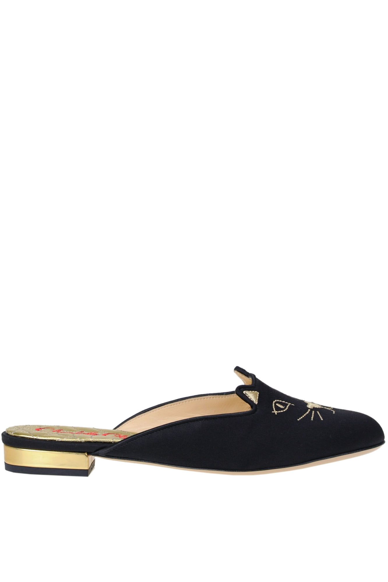 Charlotte Olympia EMBROIDERED SATIN MULES