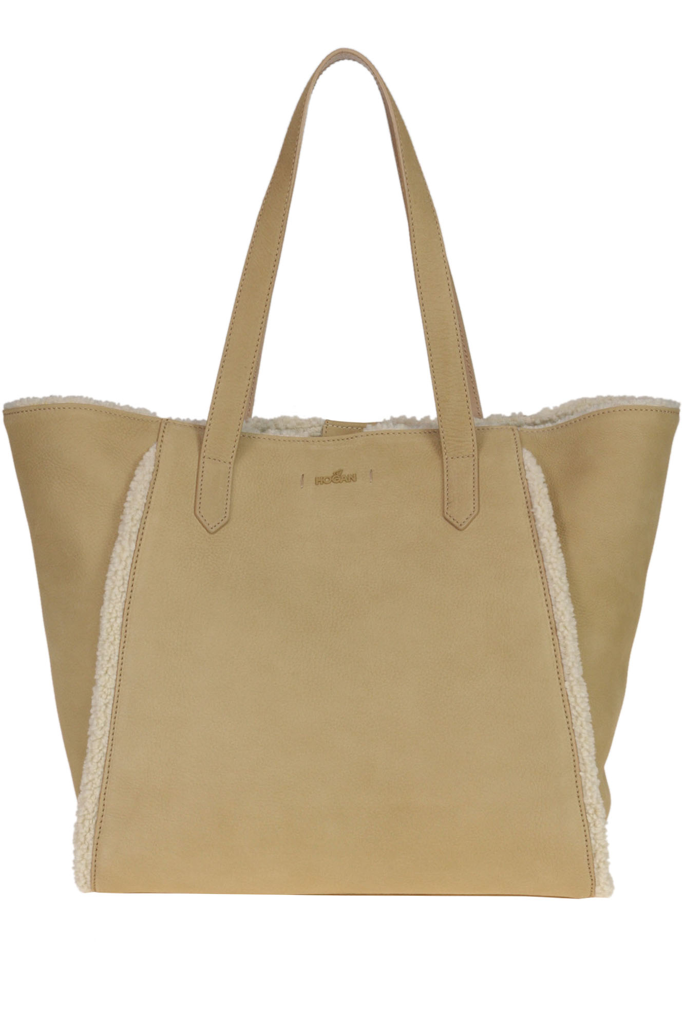 Hogan Iconic Piping Shopping Bag In Beige