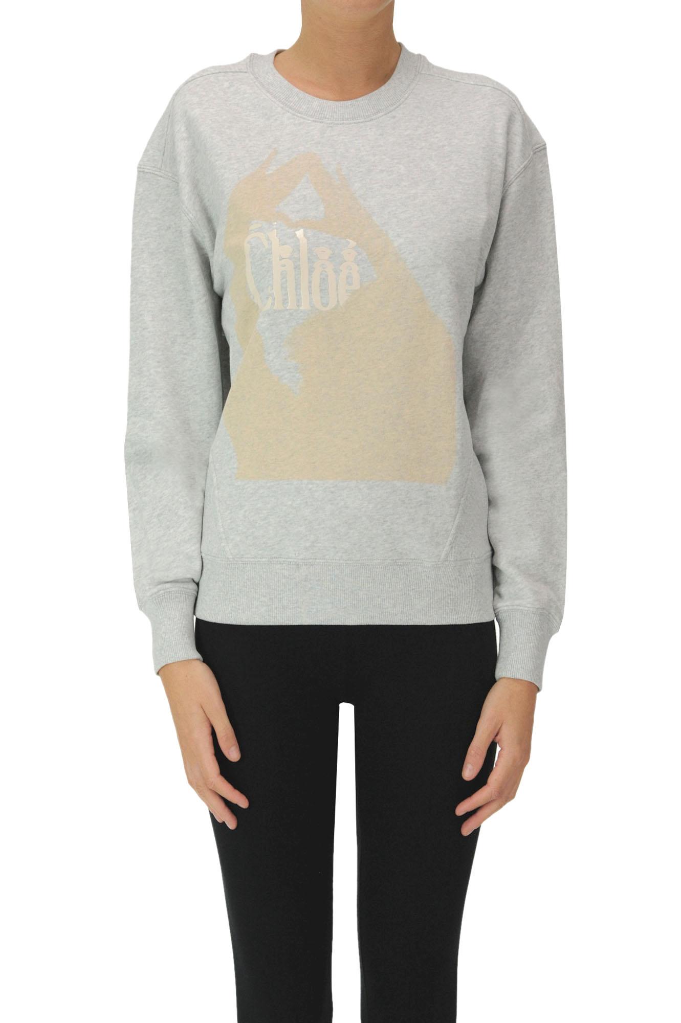 Chloé Designer Logo Sweatshirt In Grey