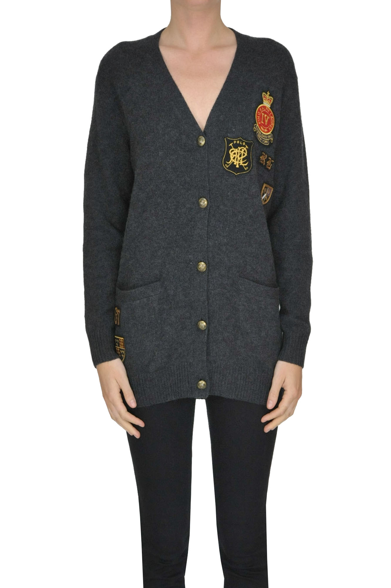 69b3ce5f1 Polo Ralph Lauren Merinos Wool And Cashmere Cardigan In Charcoal