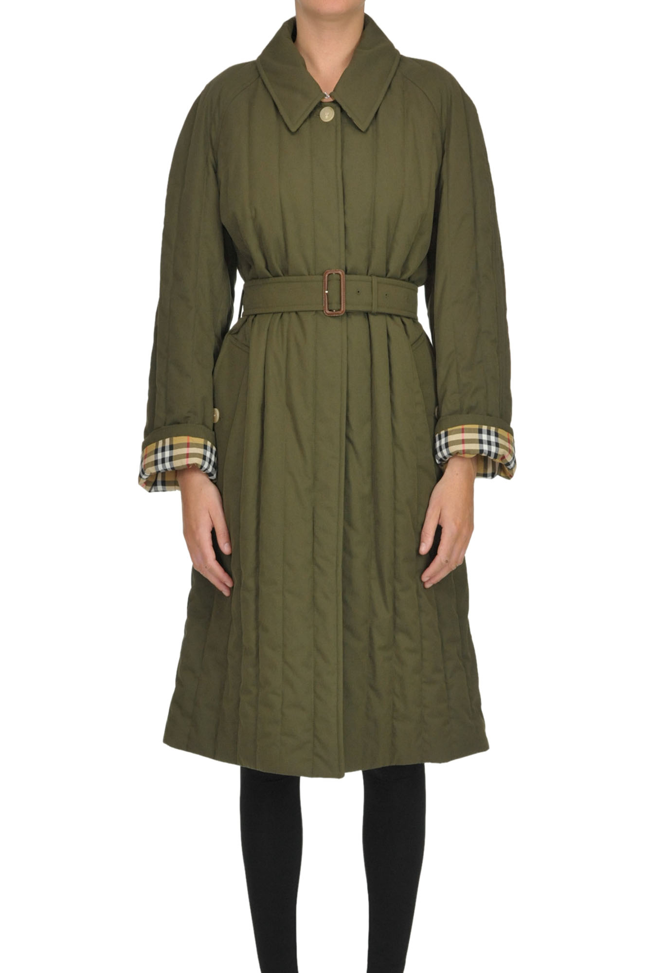Burberry Quilted Trench Coat In Olive Green
