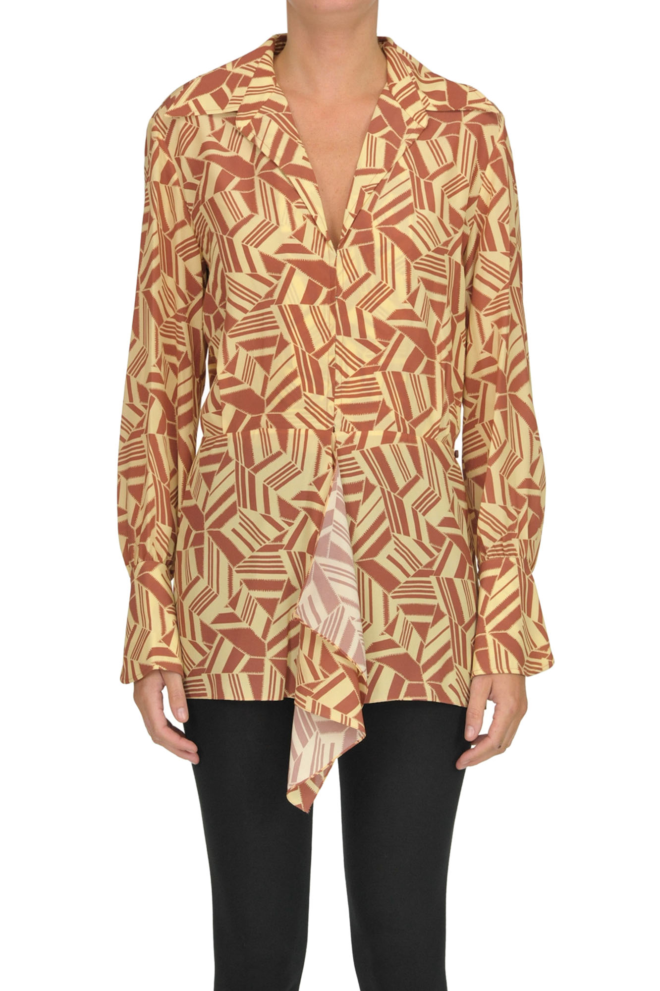 ChloÉ Printed Silk Blouse In Light Brown