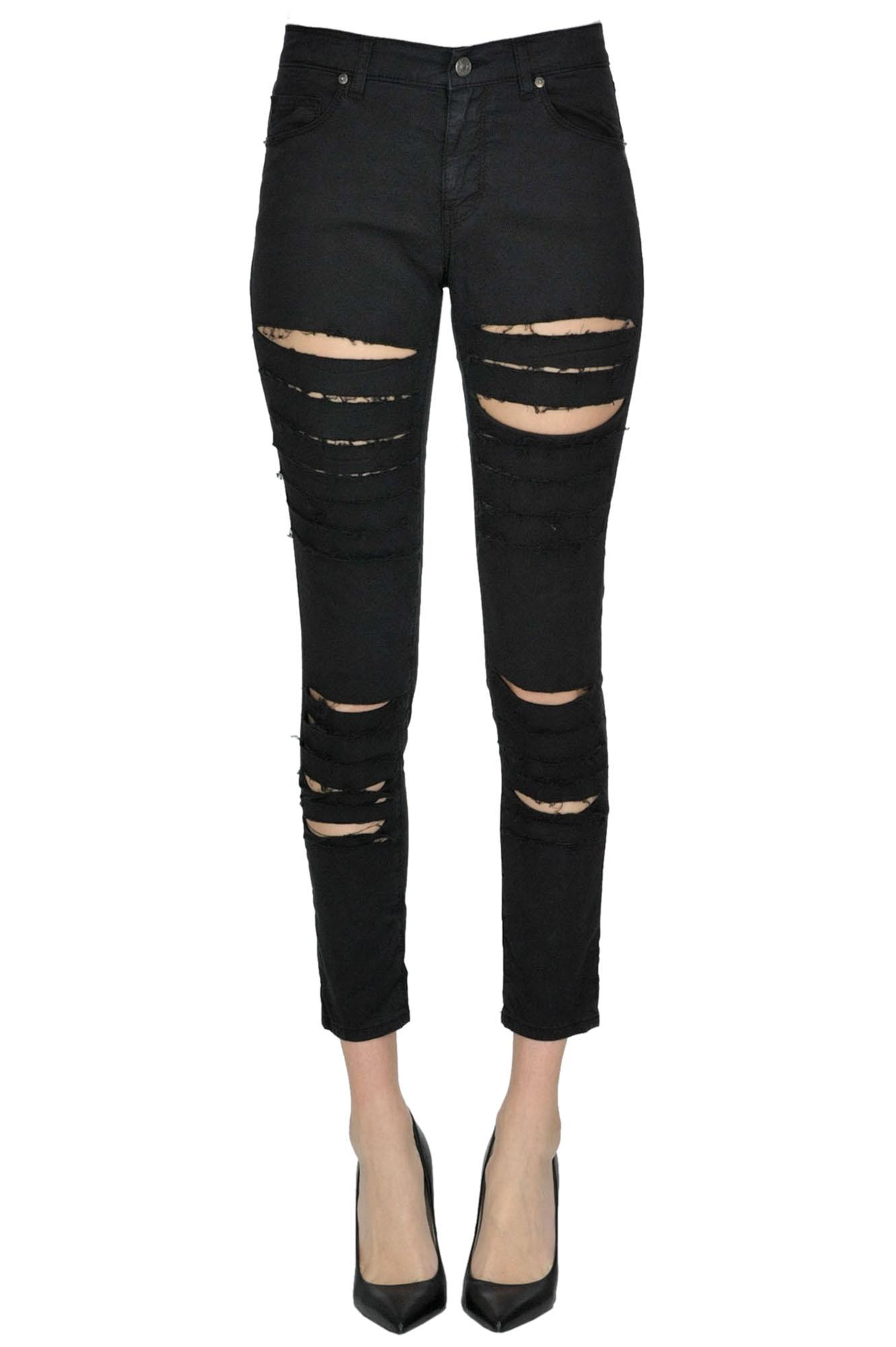 GAELLE PARIS Destroyed Jeans in Black