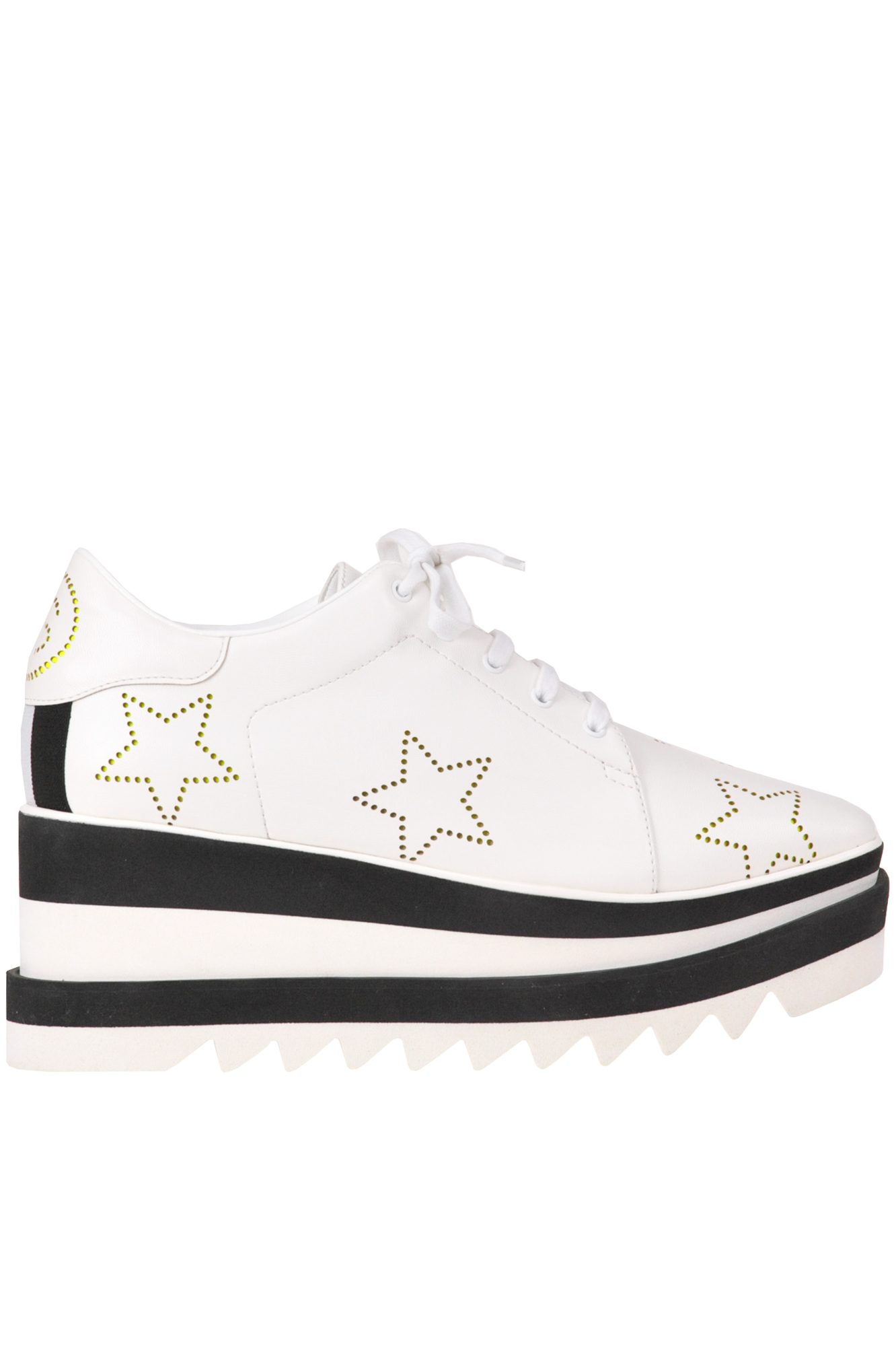 eab79312a10 Stella Mccartney Sneak-Elyse Lace-Up Perforated-Star Platform Shoes In White