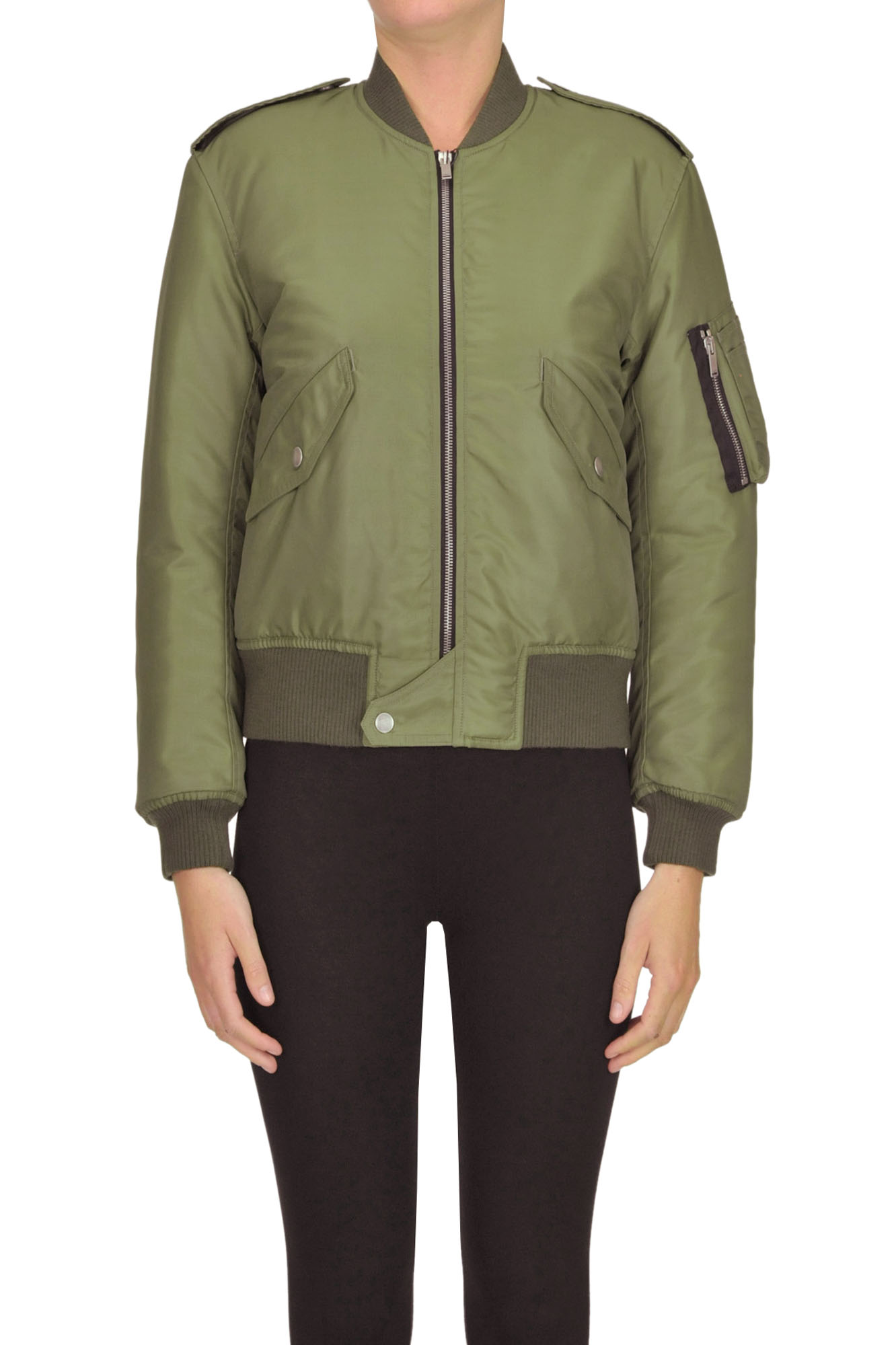 Saint Laurent Techno Fabric Bomber Jacket In Olive Green