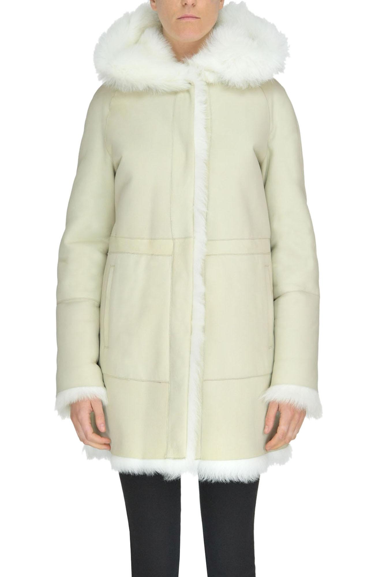 B&W Reversible Shearling Coat in Cream