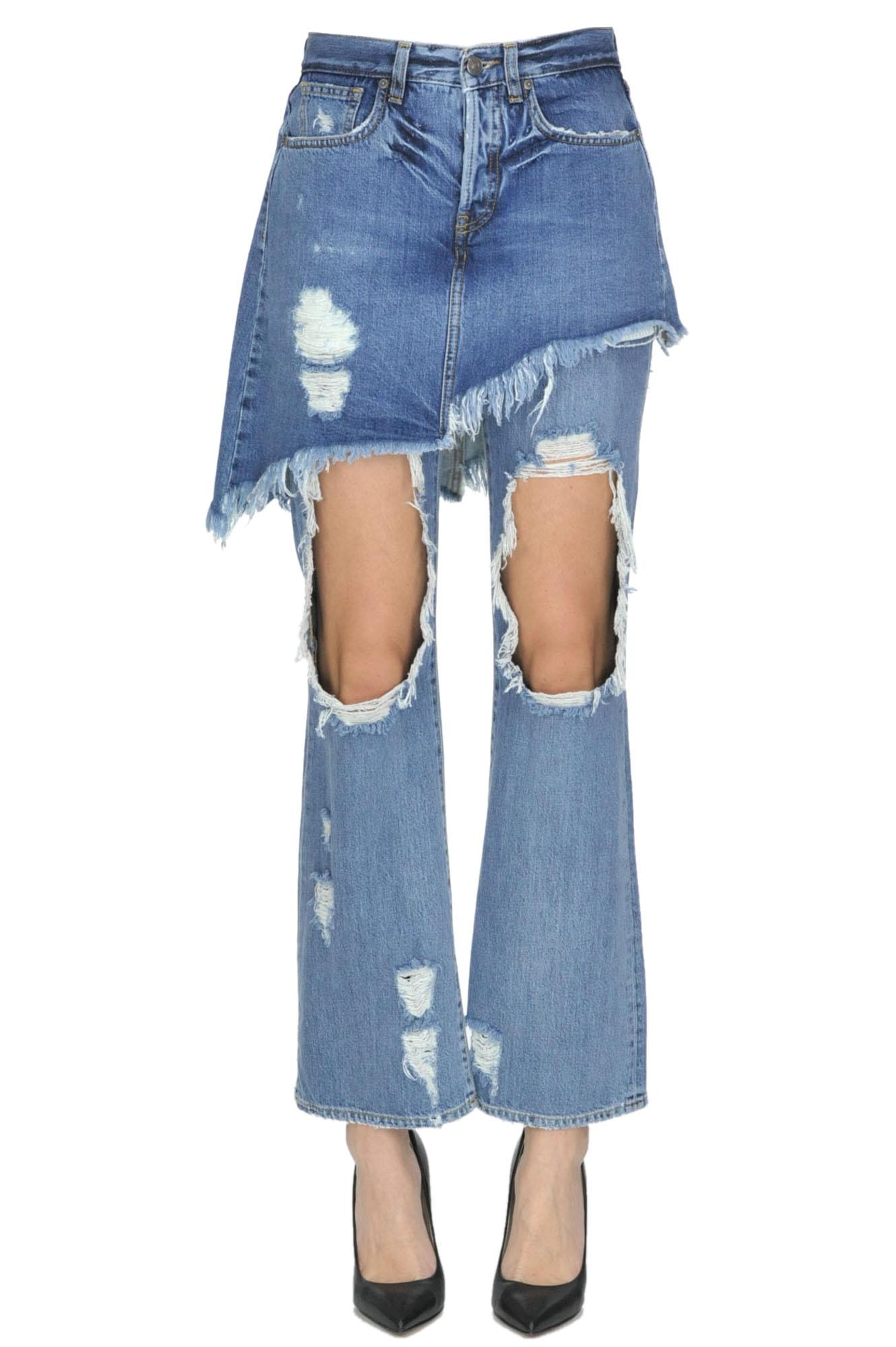 GAELLE PARIS Destroyed Jeans in Denim