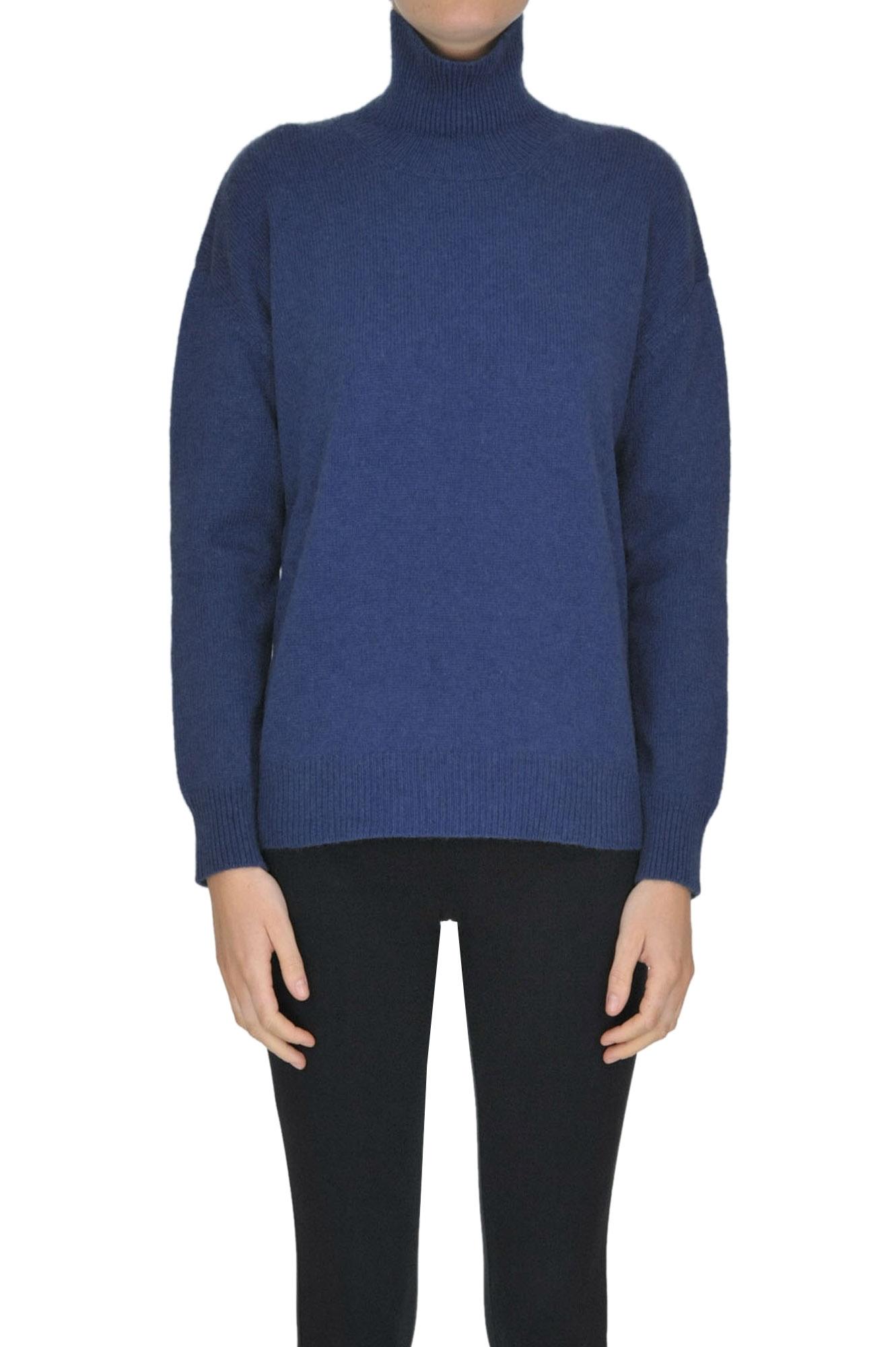 ALYKI Turtleneck Cashmere Pullover in Navy Blue