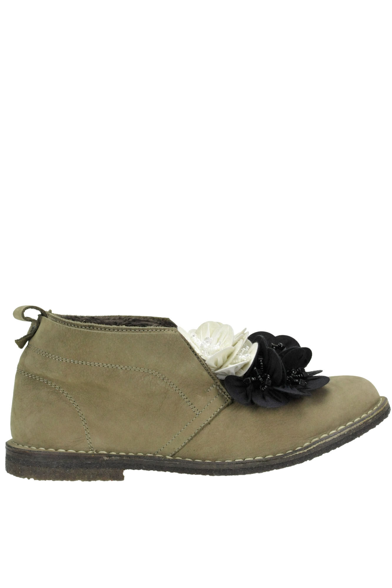 POKEMAOKE Flower Applications Suede Shoes in Kaki