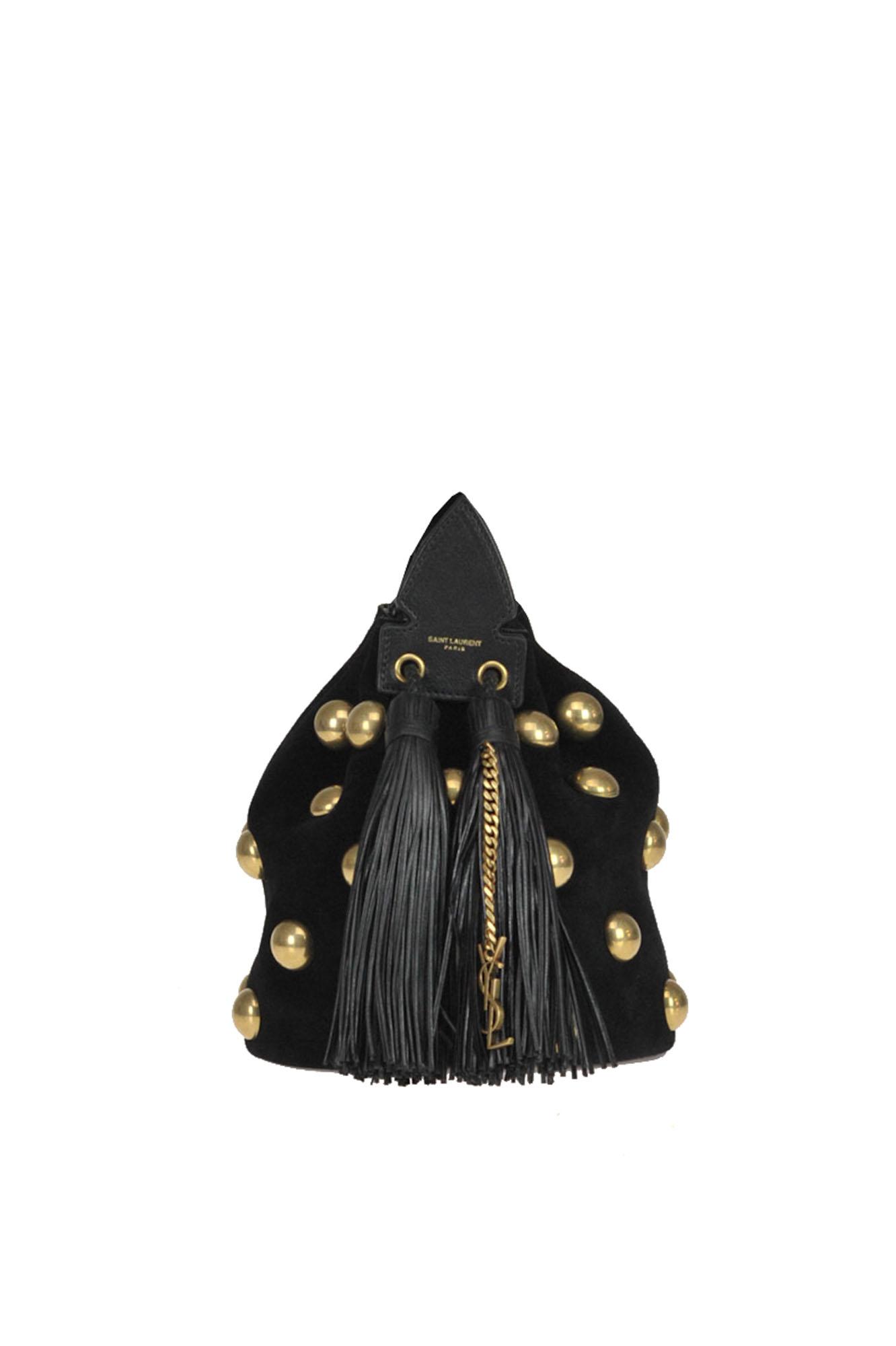 Saint Laurent Small Anja Studded Leather Bucket Bag - Black